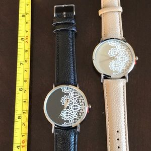 Geneva Watch Black with white Lace look on face